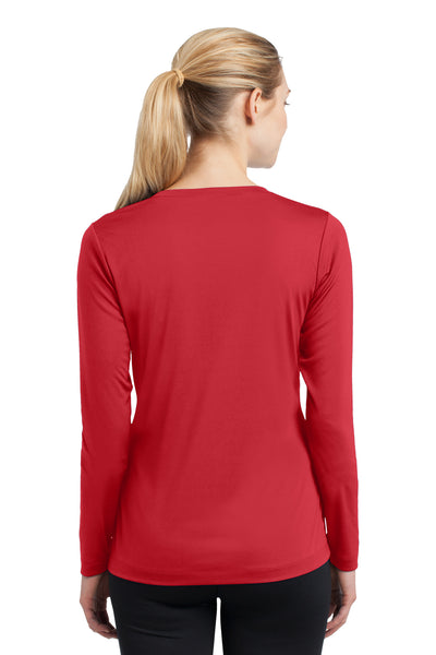 Sport-Tek LST353LS Womens Competitor Moisture Wicking Long Sleeve V-Neck T-Shirt Red Back