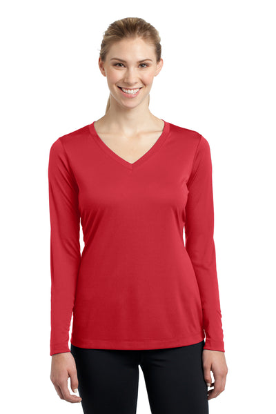 Sport-Tek LST353LS Womens Competitor Moisture Wicking Long Sleeve V-Neck T-Shirt Red Front