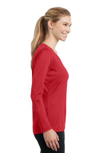 Sport-Tek LST353LS Womens Competitor Moisture Wicking Long Sleeve V-Neck T-Shirt Red Side