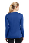 Sport-Tek LST353LS Womens Competitor Moisture Wicking Long Sleeve V-Neck T-Shirt Royal Blue Back