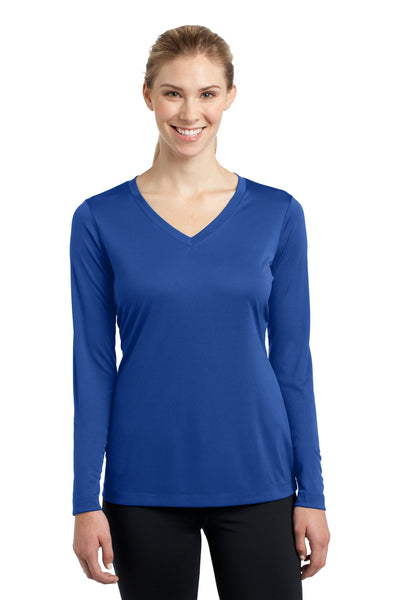 Sport-Tek LST353LS Womens Competitor Moisture Wicking Long Sleeve V-Neck T-Shirt Royal Blue Front