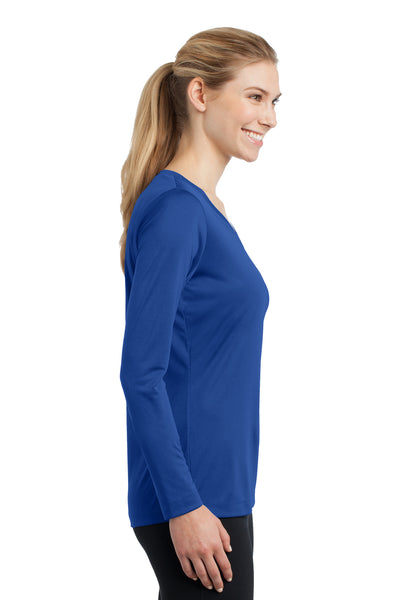 Sport-Tek LST353LS Womens Competitor Moisture Wicking Long Sleeve V-Neck T-Shirt Royal Blue Side