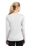 Sport-Tek LST353LS Womens Competitor Moisture Wicking Long Sleeve V-Neck T-Shirt White Back