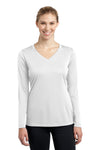 Sport-Tek LST353LS Womens Competitor Moisture Wicking Long Sleeve V-Neck T-Shirt White Front