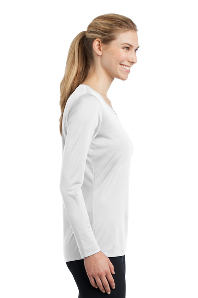 Sport-Tek LST353LS Womens Competitor Moisture Wicking Long Sleeve V-Neck T-Shirt White Side