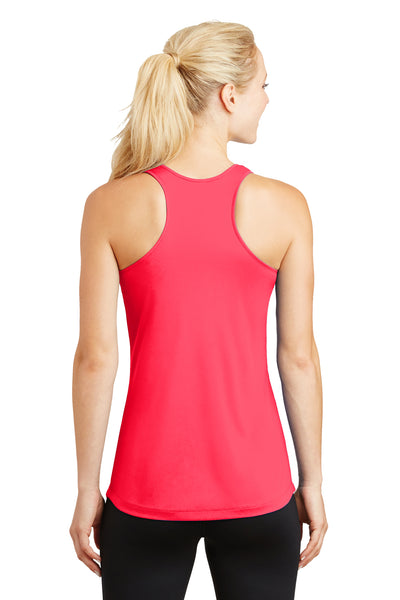 Sport-Tek LST356 Womens Competitor Moisture Wicking Tank Top Hot Coral Pink Back