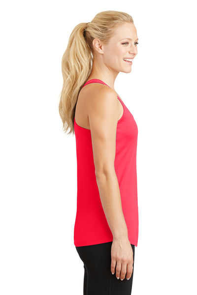 Sport-Tek LST356 Womens Competitor Moisture Wicking Tank Top Hot Coral Pink Side