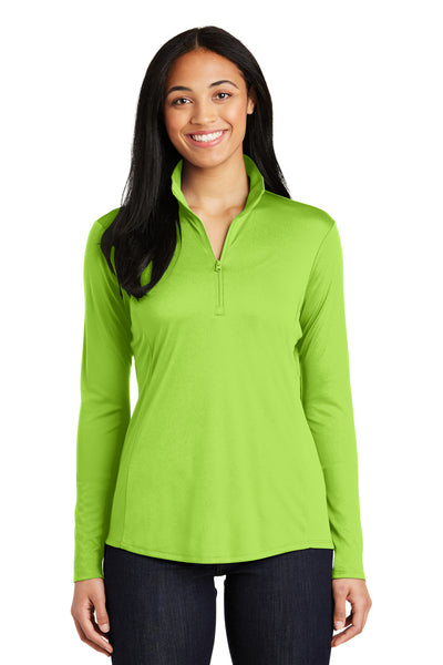 Sport-Tek LST357 Womens Competitor Moisture Wicking 1/4 Zip Sweatshirt Lime Green Front