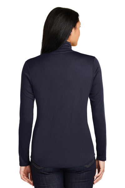 Sport-Tek LST357 Womens Competitor Moisture Wicking 1/4 Zip Sweatshirt Navy Blue Back