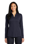 Sport-Tek LST357 Womens Competitor Moisture Wicking 1/4 Zip Sweatshirt Navy Blue Front