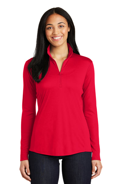 Sport-Tek LST357 Womens Competitor Moisture Wicking 1/4 Zip Sweatshirt Red Front