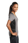Sport-Tek LST361 Womens Contender Heather Moisture Wicking Short Sleeve V-Neck T-Shirt Vintage Grey/Black Side