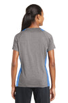 Sport-Tek LST361 Womens Contender Heather Moisture Wicking Short Sleeve V-Neck T-Shirt Vintage Grey/Carolina Blue Back