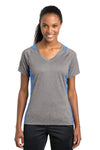 Sport-Tek LST361 Womens Contender Heather Moisture Wicking Short Sleeve V-Neck T-Shirt Vintage Grey/Carolina Blue Front
