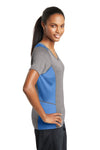 Sport-Tek LST361 Womens Contender Heather Moisture Wicking Short Sleeve V-Neck T-Shirt Vintage Grey/Carolina Blue Side