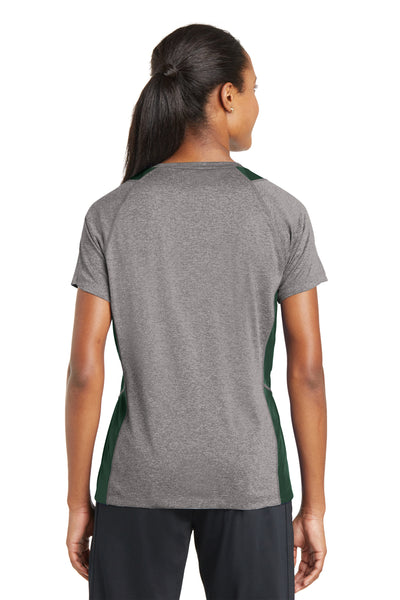Sport-Tek LST361 Womens Contender Heather Moisture Wicking Short Sleeve V-Neck T-Shirt Vintage Grey/Forest Green Back