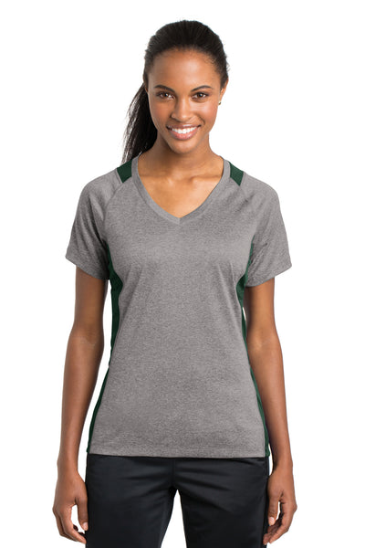 Sport-Tek LST361 Womens Contender Heather Moisture Wicking Short Sleeve V-Neck T-Shirt Vintage Grey/Forest Green Front