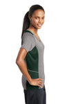 Sport-Tek LST361 Womens Contender Heather Moisture Wicking Short Sleeve V-Neck T-Shirt Vintage Grey/Forest Green Side