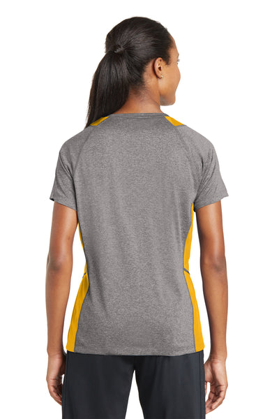 Sport-Tek LST361 Womens Contender Heather Moisture Wicking Short Sleeve V-Neck T-Shirt Vintage Grey/Gold Back