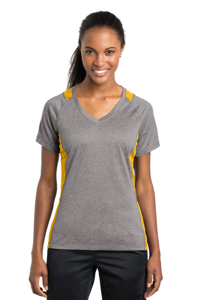 Sport-Tek LST361 Womens Contender Heather Moisture Wicking Short Sleeve V-Neck T-Shirt Vintage Grey/Gold Front