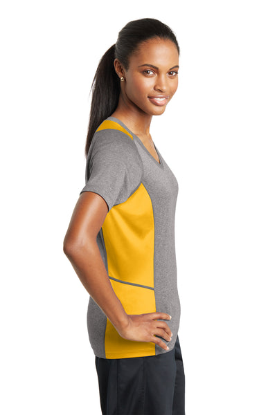 Sport-Tek LST361 Womens Contender Heather Moisture Wicking Short Sleeve V-Neck T-Shirt Vintage Grey/Gold Side