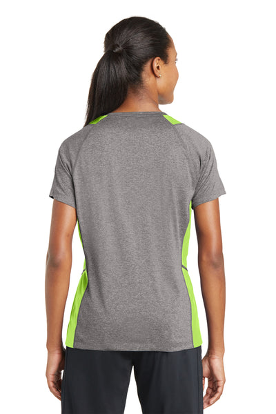 Sport-Tek LST361 Womens Contender Heather Moisture Wicking Short Sleeve V-Neck T-Shirt Vintage Grey/Lime Green Back