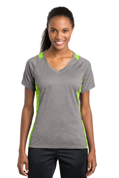 Sport-Tek LST361 Womens Contender Heather Moisture Wicking Short Sleeve V-Neck T-Shirt Vintage Grey/Lime Green Front