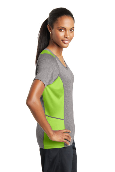 Sport-Tek LST361 Womens Contender Heather Moisture Wicking Short Sleeve V-Neck T-Shirt Vintage Grey/Lime Green Side