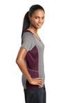 Sport-Tek LST361 Womens Contender Heather Moisture Wicking Short Sleeve V-Neck T-Shirt Vintage Grey/Maroon Side