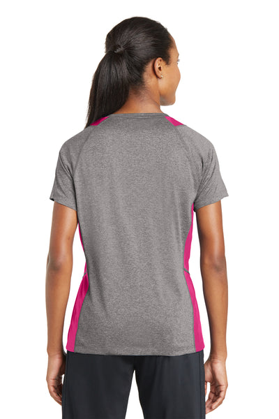 Sport-Tek LST361 Womens Contender Heather Moisture Wicking Short Sleeve V-Neck T-Shirt Vintage Grey/Fuchsia Pink Back