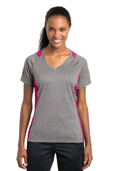 Sport-Tek LST361 Womens Contender Heather Moisture Wicking Short Sleeve V-Neck T-Shirt Vintage Grey/Fuchsia Pink Front