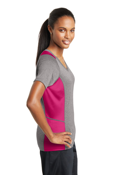 Sport-Tek LST361 Womens Contender Heather Moisture Wicking Short Sleeve V-Neck T-Shirt Vintage Grey/Fuchsia Pink Side