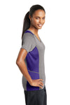 Sport-Tek LST361 Womens Contender Heather Moisture Wicking Short Sleeve V-Neck T-Shirt Vintage Grey/Purple Side