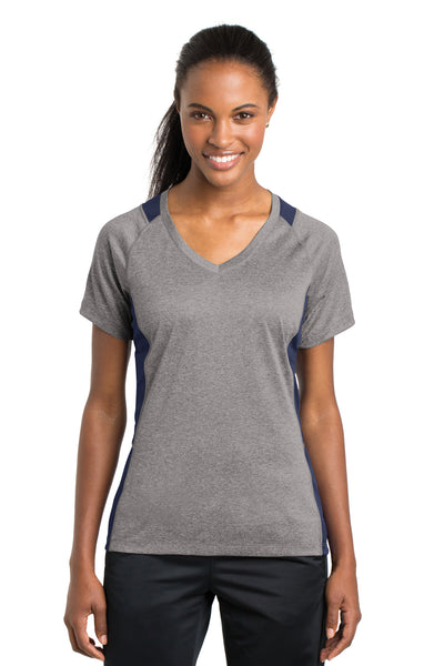 Sport-Tek LST361 Womens Contender Heather Moisture Wicking Short Sleeve V-Neck T-Shirt Vintage Grey/Navy Blue Front