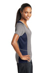 Sport-Tek LST361 Womens Contender Heather Moisture Wicking Short Sleeve V-Neck T-Shirt Vintage Grey/Navy Blue Side