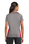 Sport-Tek LST361 Womens Contender Heather Moisture Wicking Short Sleeve V-Neck T-Shirt Vintage Grey/Red Back