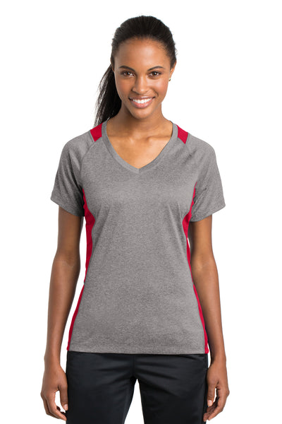 Sport-Tek LST361 Womens Contender Heather Moisture Wicking Short Sleeve V-Neck T-Shirt Vintage Grey/Red Front