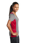 Sport-Tek LST361 Womens Contender Heather Moisture Wicking Short Sleeve V-Neck T-Shirt Vintage Grey/Red Side