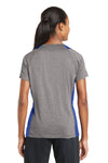 Sport-Tek LST361 Womens Contender Heather Moisture Wicking Short Sleeve V-Neck T-Shirt Vintage Grey/Royal Blue Back