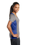 Sport-Tek LST361 Womens Contender Heather Moisture Wicking Short Sleeve V-Neck T-Shirt Vintage Grey/Royal Blue Side