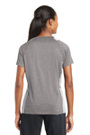 Sport-Tek LST361 Womens Contender Heather Moisture Wicking Short Sleeve V-Neck T-Shirt Vintage Grey/White Back