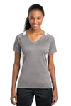 Sport-Tek LST361 Womens Contender Heather Moisture Wicking Short Sleeve V-Neck T-Shirt Vintage Grey/White Front