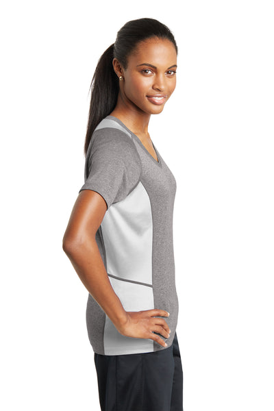 Sport-Tek LST361 Womens Contender Heather Moisture Wicking Short Sleeve V-Neck T-Shirt Vintage Grey/White Side