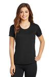 Sport-Tek LST380 Womens Elevate Moisture Wicking Short Sleeve Scoop Neck T-Shirt Black Front