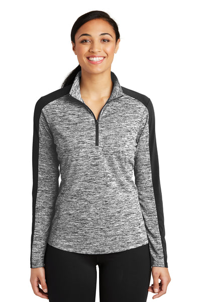 Sport-Tek LST397 Womens Electric Heather Moisture Wicking 1/4 Zip Sweatshirt Black Front