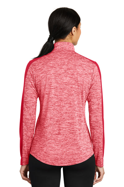 Sport-Tek LST397 Womens Electric Heather Moisture Wicking 1/4 Zip Sweatshirt Red Back