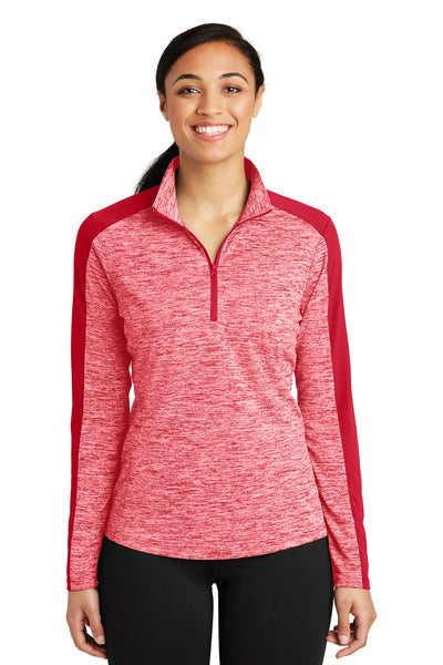 Sport-Tek LST397 Womens Electric Heather Moisture Wicking 1/4 Zip Sweatshirt Red Front