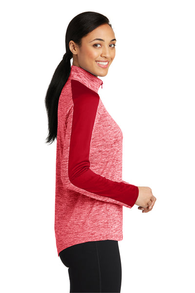 Sport-Tek LST397 Womens Electric Heather Moisture Wicking 1/4 Zip Sweatshirt Red Side