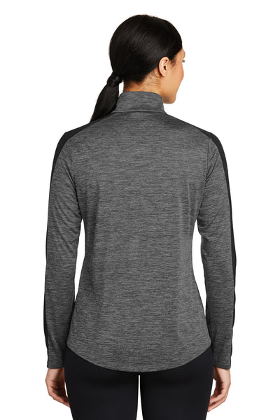 Sport-Tek LST397 Womens Electric Heather Moisture Wicking 1/4 Zip Sweatshirt Grey Back