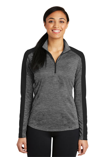 Sport-Tek LST397 Womens Electric Heather Moisture Wicking 1/4 Zip Sweatshirt Grey Front